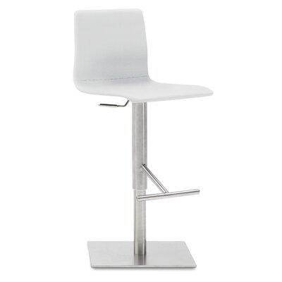 Jude Adjustable Height Swivel Bar Stool Upholstered: White