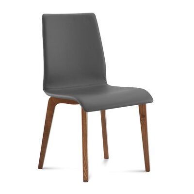 Jude Upholstered Dining Chair (Set of 2) Upholstery Color: Gray, Leg Color: Brown