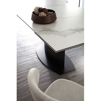 Discovery Extendable Dining Table Base Color: Anthracite, Top Color: Marble