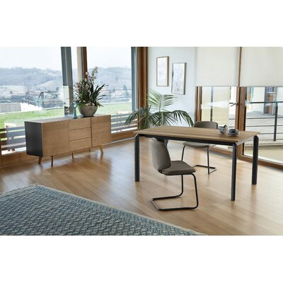 Energy Extendable Dining Table Base Color: Anthracite, Top Color: Light oak