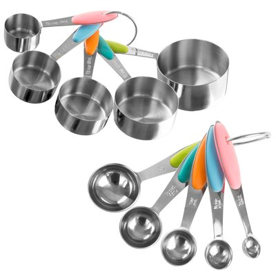 10-Piece Stainless Steel Measuring Cup and Spoon Set M030236
