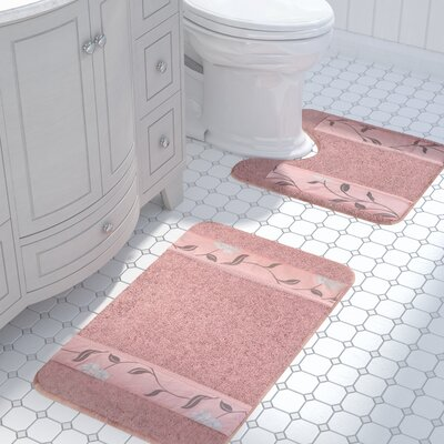 Levesque 2 Piece Bath Rug Set Color: Pink