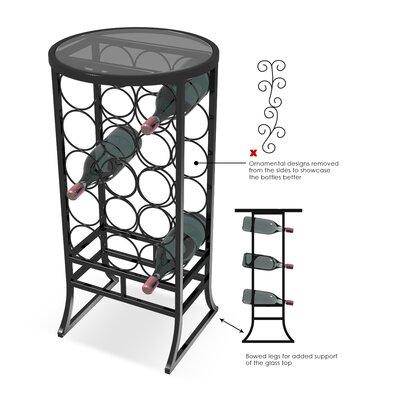 Vanderhoff Glass Top 18 Bottle Floor Wine Rack (Set of 12)