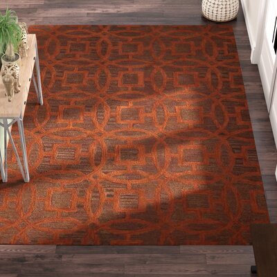 Bradford Hand-Tufted Wool Brown/Orange Area Rug Rug Size: Rectangle 9 x 12
