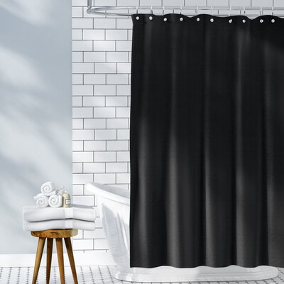 Waffle Weave 100% Cotton Shower Curtain Color: Black, Size: 72 H x 72 W