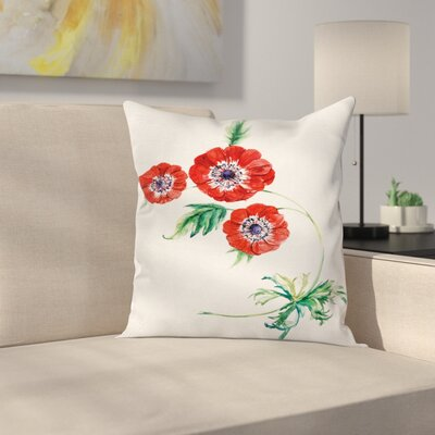 Anemone Water Square Cushion Pillow Cover Size: 18 x 18