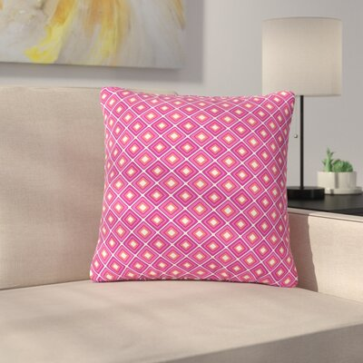 Nandita Singh Bright Squares Pattern Outdoor Throw Pillow Color: Pink, Size: 16 H x 16 W x 5 D