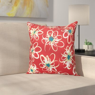 Cherry Penelope Floral Geometric Outdoor Throw Pillow Size: 20 H x 20 W, Color: Coral
