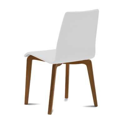 Jude Upholstered Dining Chair (Set of 2) Upholstery Color: White, Leg Color: Brown