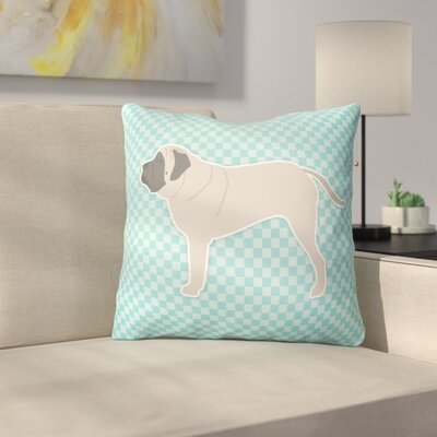 English Mastiff Indoor/Outdoor Throw Pillow Size: 18 H x 18 H x 3 D, Color: Blue