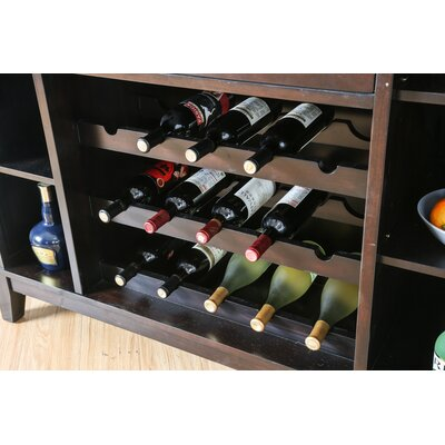 DAmato Transitional Wooden Frame Bar with Wine Storage