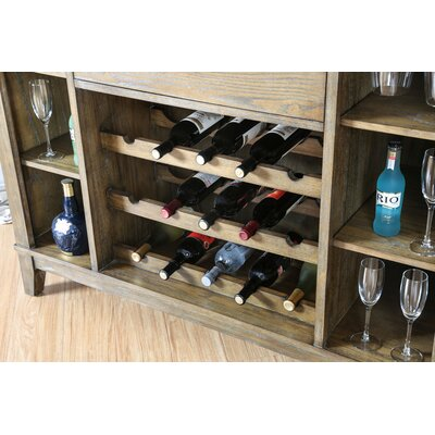 Pennsport Transitional Wooden Bar Frame with Wine Storage