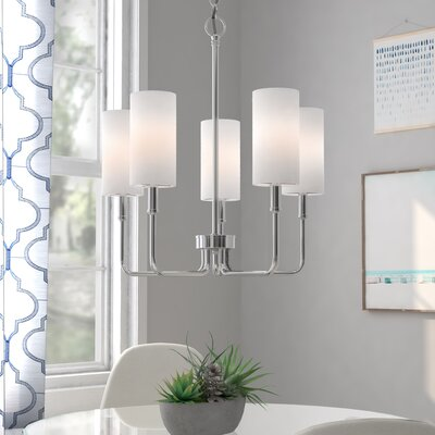Burger 5-Light Shaded Chandelier Finish: Chrome