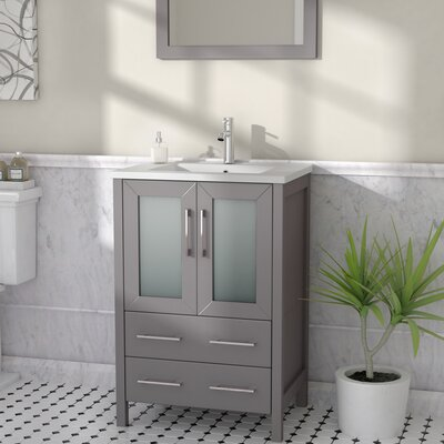 Karson 24 Single Bathroom Vanity Set with Mirror Base Finish: Gray