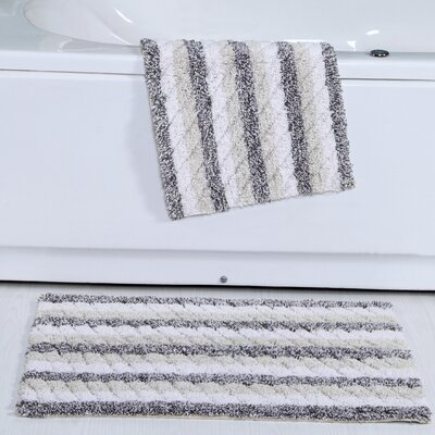 Cardoso Ring-Spun Cotton Textured Bath Rug Color: Gray