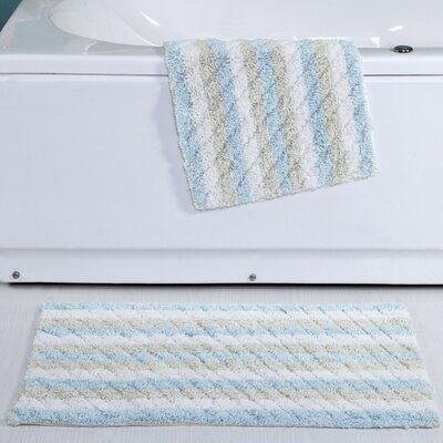 Cardoso Ring-Spun Cotton Textured Bath Rug Color: Blue