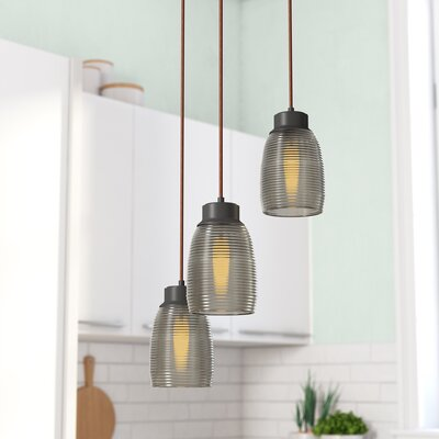 Snyder Triangle Pan 3-Light Cascade Pendant Finish: Oil Rubbed Bronze/Champagne Plated