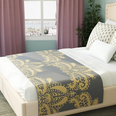 Nandita Singh Decorative Motif Floral Bed Runner Color: Gold/Copper