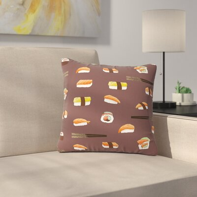 Strawberringo Sushi Pattern Outdoor Throw Pillow Size: 16 H x 16 W x 5 D