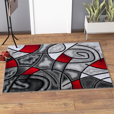 Keeler High-Quality Exclusive Drop-Stitch Linear Designed Lava Area Rug Rug Size: 5 x 611
