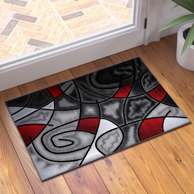 Keeler High-Quality Exclusive Drop-Stitch Linear Designed Doormat Color: Lava