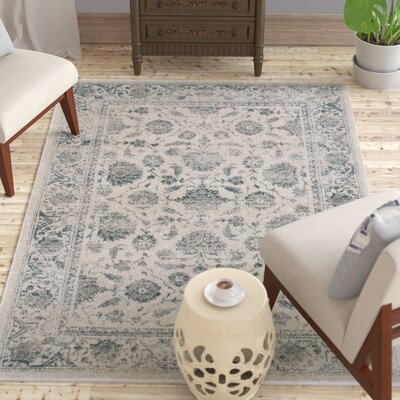 Lambeth Faded Garden Ivory Area Rug Rug Size: Rectangle 53 x 76