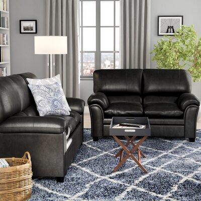 Mikaela 2 Piece Living Room Set Upholstery: Black