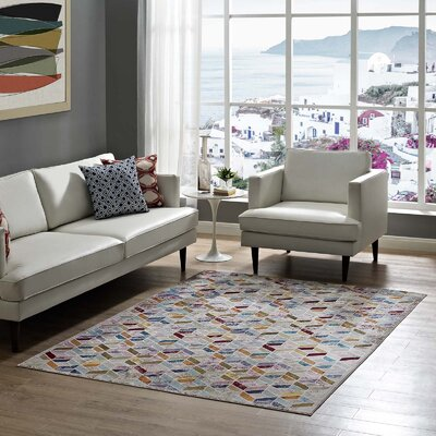 Edmore Gray/Purple Area Rug Rug Size: Rectangle 53 x 76