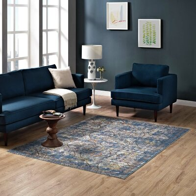 Heitzman Blue/Orange Area Rug Rug Size: Rectangle 53 x 76