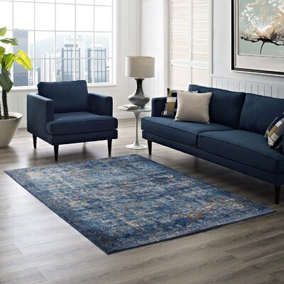 Heitzman Blue Area Rug Rug Size: Rectangle 8 x 10