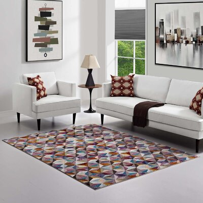 Edward Blue/Red/Yellow Area Rug Rug Size: Rectangle 8 x 10
