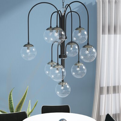 Causeway 10-Light Shaded Chandelier Finish: Textured Black/PolishedNickel, Bulb Type: G9 Xenon