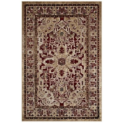 Claverton Down Burgundy/Tan Area Rug Rug Size: Rectangle 53 x 76