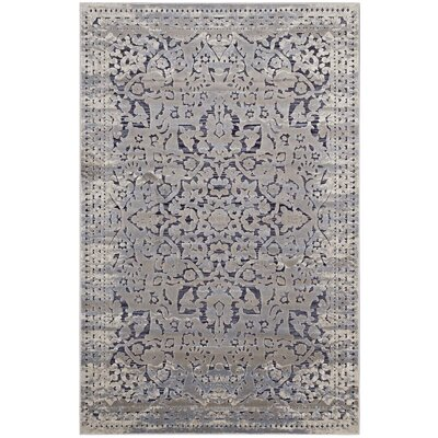 Probolinggo Blue/Cream Area Rug Rug Size: Rectangle 53 x 76
