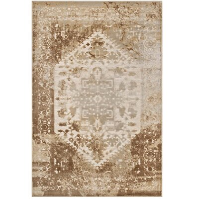 Privette Tan/Cream Area Rug Rug Size: Rectangle 53 x 76