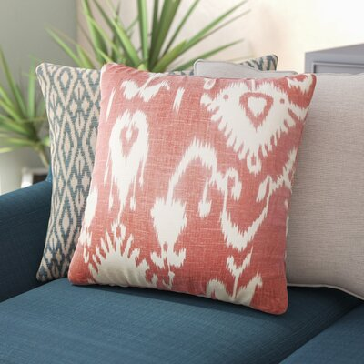 Bufford Ikat Linen Throw Pillow Color: Cranberry, Size: 18 x 18