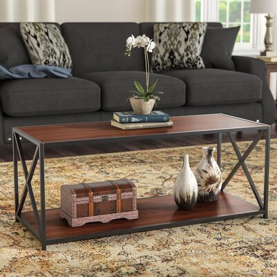 Abbottsmoor Coffee Table Wood Color: Cherry, Frame Color: Black