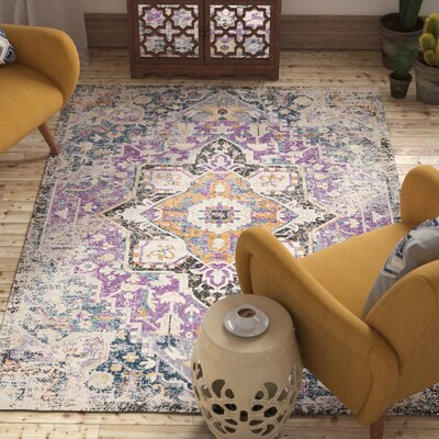 Fonteyne Purple/Teal Area Rug Rug Size: Rectangle 53 x 76
