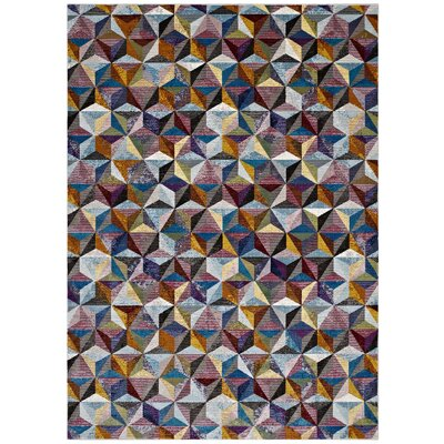 Edward Blue/Red/Yellow Area Rug Rug Size: Rectangle 53 x 76