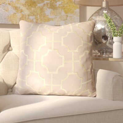 Allbright Embroidered Geo Throw Pillow Color: Crockery/Gold