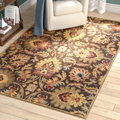 Camden Chocolate Tufted Wool Area Rug Rug Size: Rectangle 5 x 8