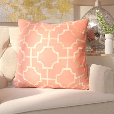 Allbright Embroidered Geo Throw Pillow Color: Coral/Quartz Gold