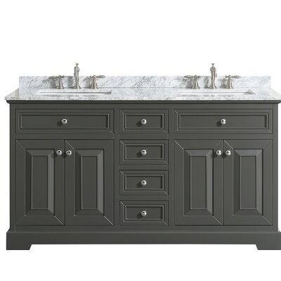 Hankins 60 Double Bathroom Vanity Set Base Finish: Gray