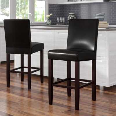 Swarthout 24 Counter Stool Upholstery: Black Faux Leather