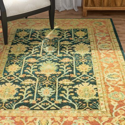 Janelle Teal Area Rug Rug Size: 53 x 76
