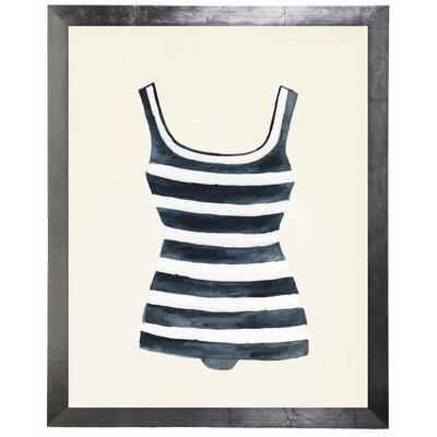 'Striped Bathing Suit' Framed Watercolor Painting Print 7EBEAD6DF5824568BEA0B257B2908882