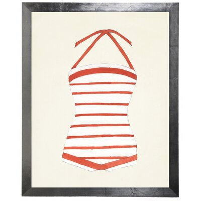 'Striped Bathing Suit' Framed Watercolor Painting Print 80E0E6536387480896AF6FC22CB3F71D