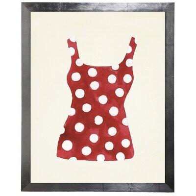 'Polka Dot Bathing Suit' Framed Watercolor Painting Print 751B4FD08DEF442797B2695964411AF5