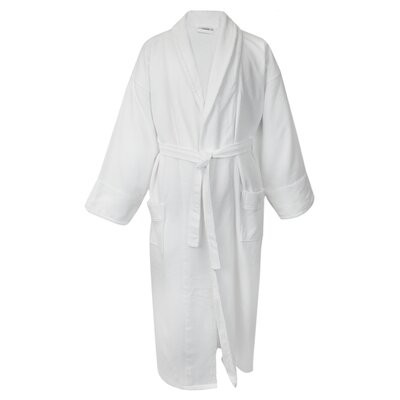 100% Turkish Cotton Waffle Bathrobe with Velour Shawl Color: White