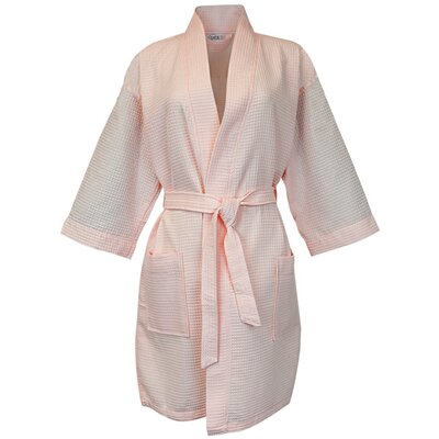 Thigh Length Waffle Kimono Bathrobe Color: Salmon, Size: Extra Extra Large